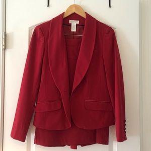 Red Worthington Stretch Skirt Suit Sz8